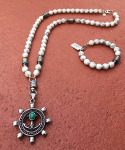 "Rosary Handmade - Handcrafted ""Ambition Rosary""- Semiprecious Stones Howlite ROS125"