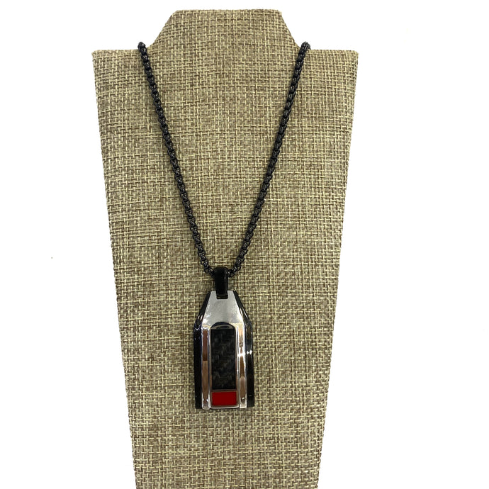 Necklace - Black Plated Steel Necklace with Carbon Fiber Pendant 22in