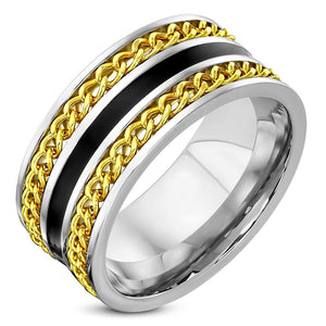 Gold and Black Surgical Steel Ring