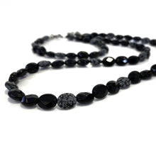 Necklace - Snowflake Obsidian & Onyx - 21 inch