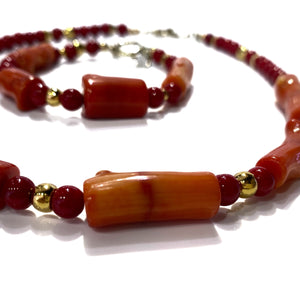Bracelet - Red Coral 8 inch long