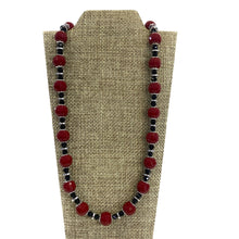 Necklace - Red & Black Crystal Necklace with Hematite Stones 17.5in