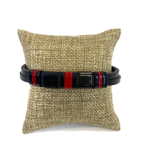 Bracelet - Black Leather Bracelet with Black and Red Steel Beads 9in