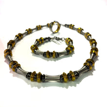 Necklace - Steel & Hematite 21.5 inch long