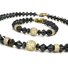 Hematite and Gold Pave Bead