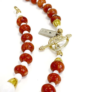 Necklace - Mother of Pearl & Red Coral 18in
