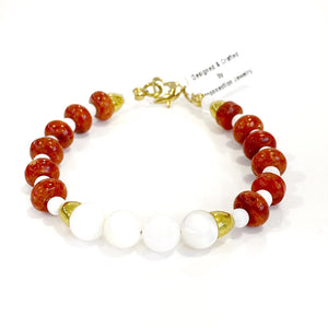 Bracelet - Mother of Pearl & Red Coral Bracelet 7.5in