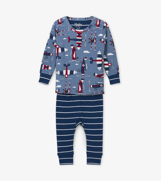 Hatley paper planes organic cotton baby pjs - SmoochSuits