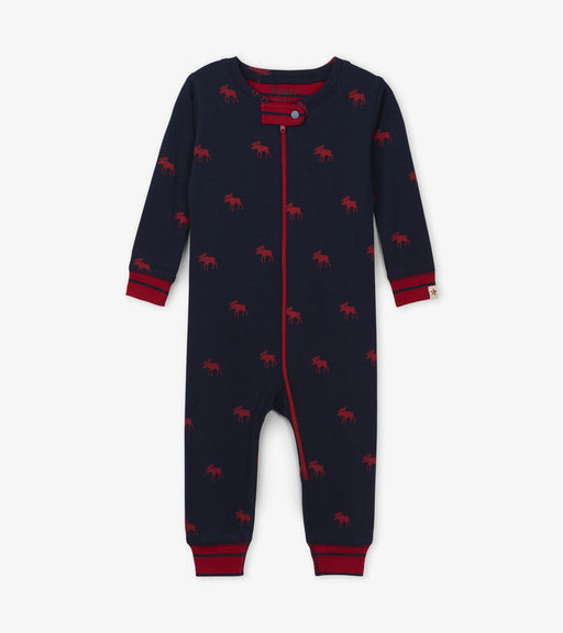 Hatley red moose organic cotton coverall - SmoochSuits