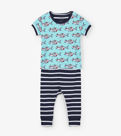 Hatley snorkeling sharks organic cotton baby short sleeve pjs - SmoochSuits