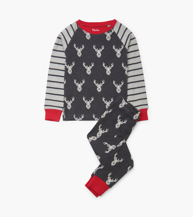 Hatley patterned stag organic cotton raglan pjs