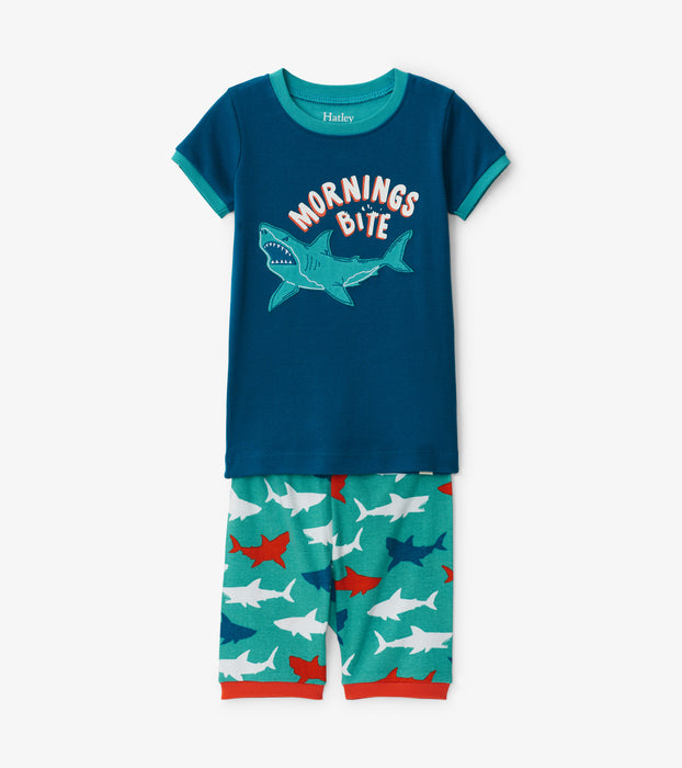 Hatley great white sharks organic cotton short pjs - SmoochSuits