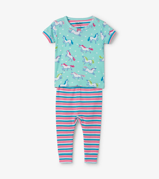 Hatley prancing unicorns organic cotton baby short sleeve pjs - SmoochSuits