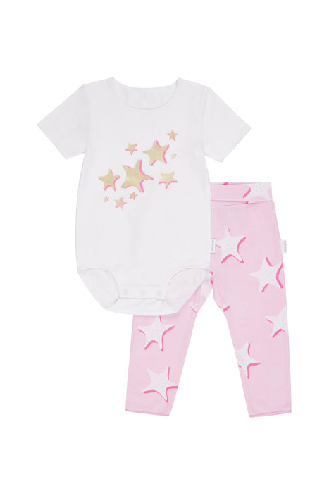 Bonds starfish wish pink wonderbody and legging set - SmoochSuits