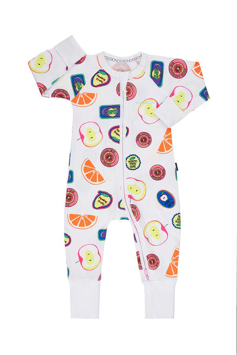 Bonds Fruit sticker fun white Wondersuit