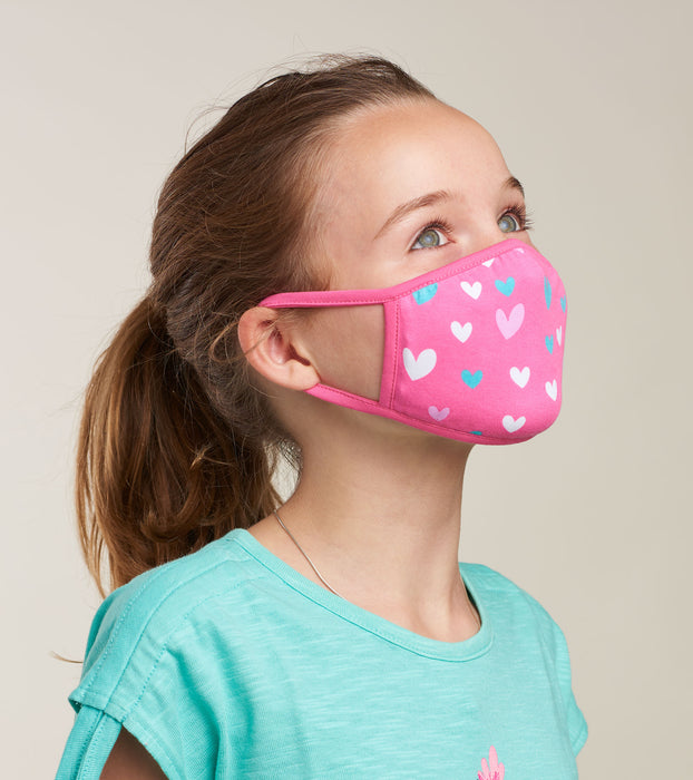 Little Blue House Reusable Kids Mask Pink Hearts
