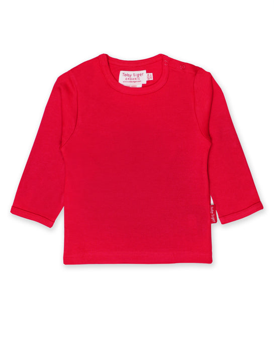 Toby Tiger Organic basic red t-shirt