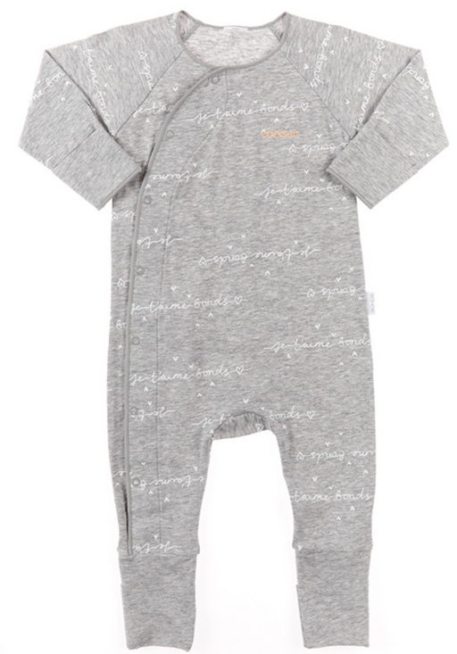 Bonds Je L'aime Bonds New Grey Marle & White cozysuit - SmoochSuits