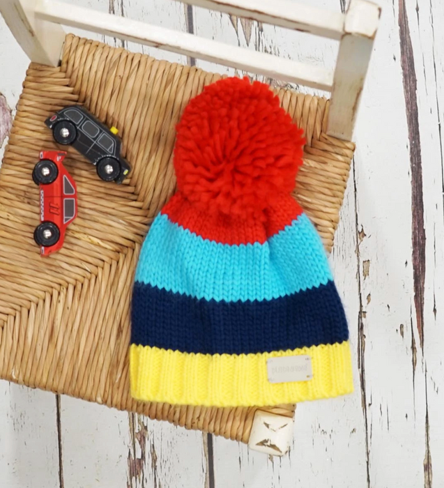 Blade & Rose Bright striped bobble hat