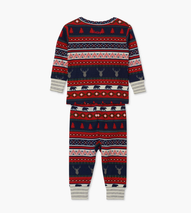 Hatley Fair Isle stag cotton baby pjs