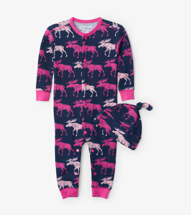 Little Blue House Cottage moose coverall and hat