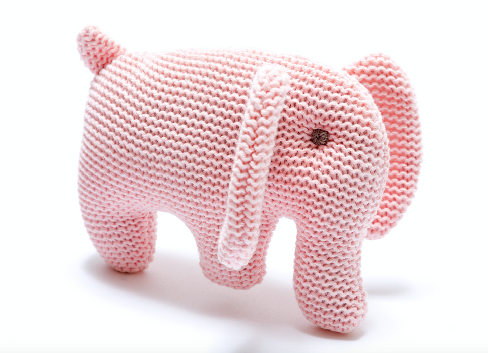 Best Years Small Organic Cotton Knitted Elephant Toy Pink