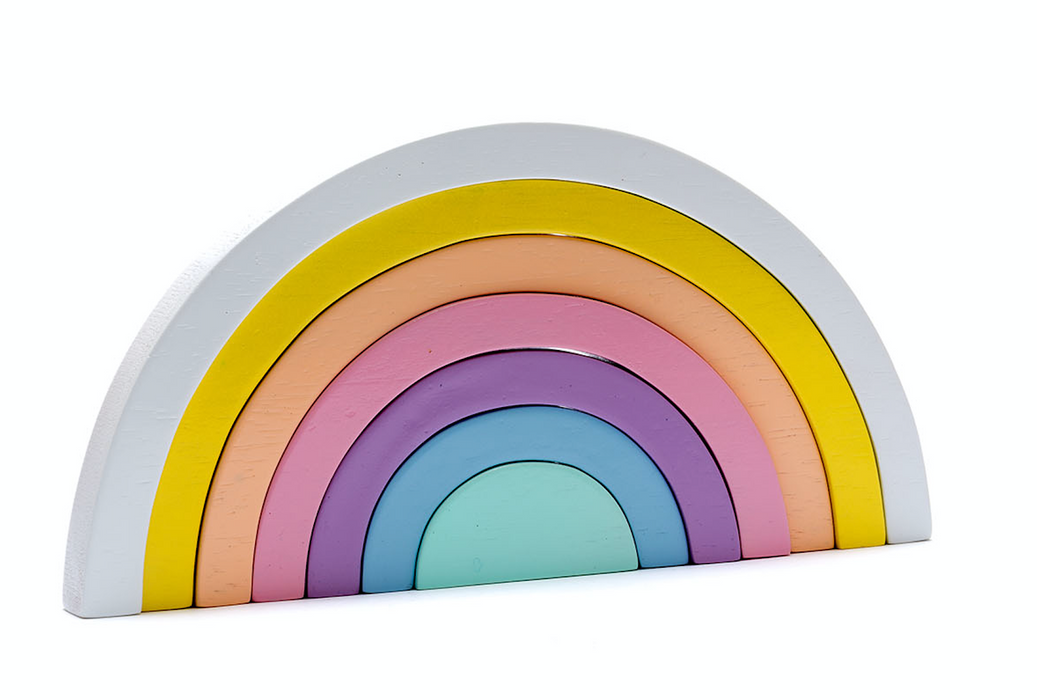 Fair trade wooden rainbow toy - shades of pastel