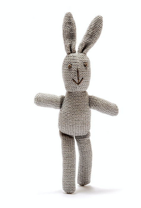 Best Years Small Organic Cotton Knitted Bunny Rattle White
