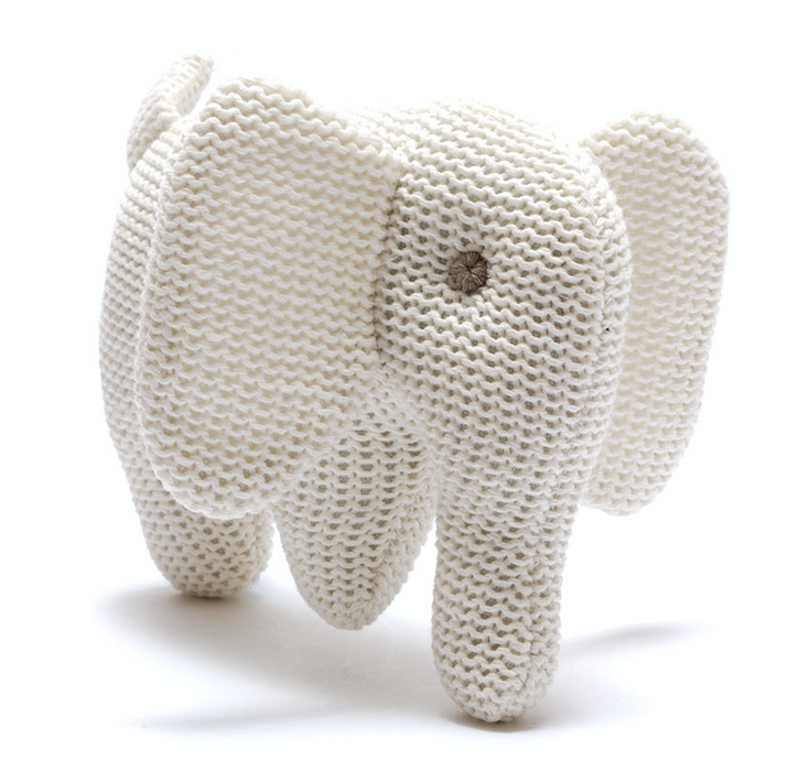 Best Years Small Organic Cotton Knitted Elephant Toy White