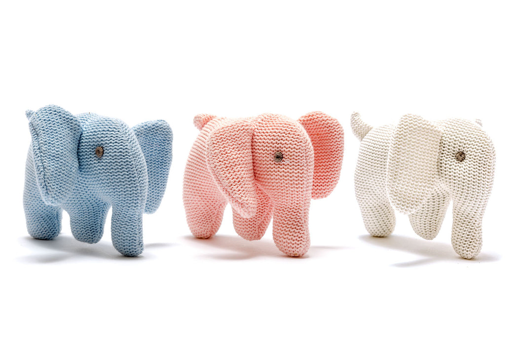 Best Years Small Organic Cotton Knitted Elephant Toy Blue