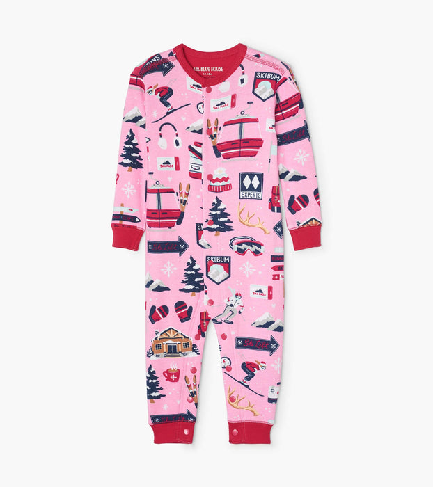 Little Blue House Pink ski holiday baby union suit