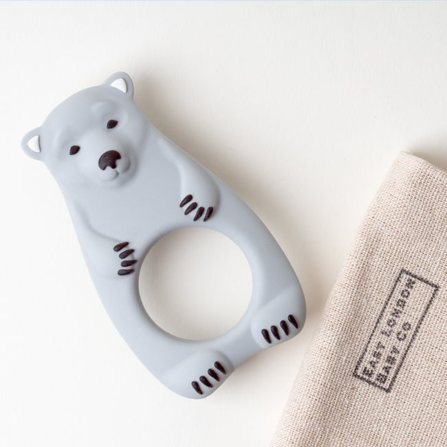 East London Baby Co Bear Teether Grey