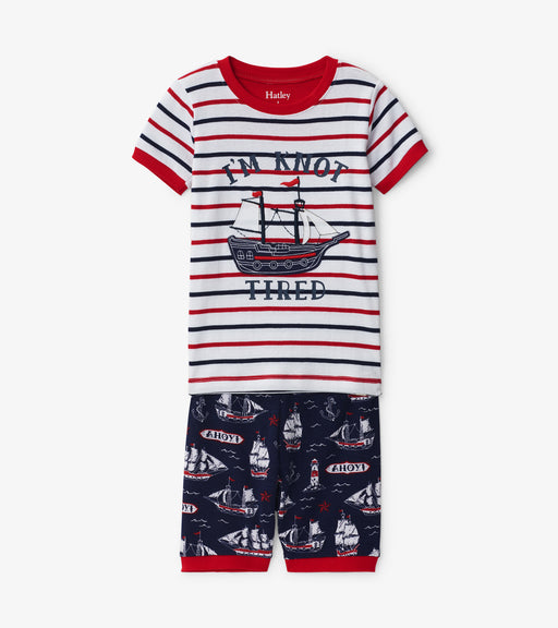 Hatley nautical ships organic cotton short pjs - SmoochSuits