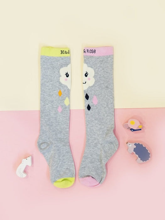 Blade & Rose Cloud Face Knee High Wellie Socks