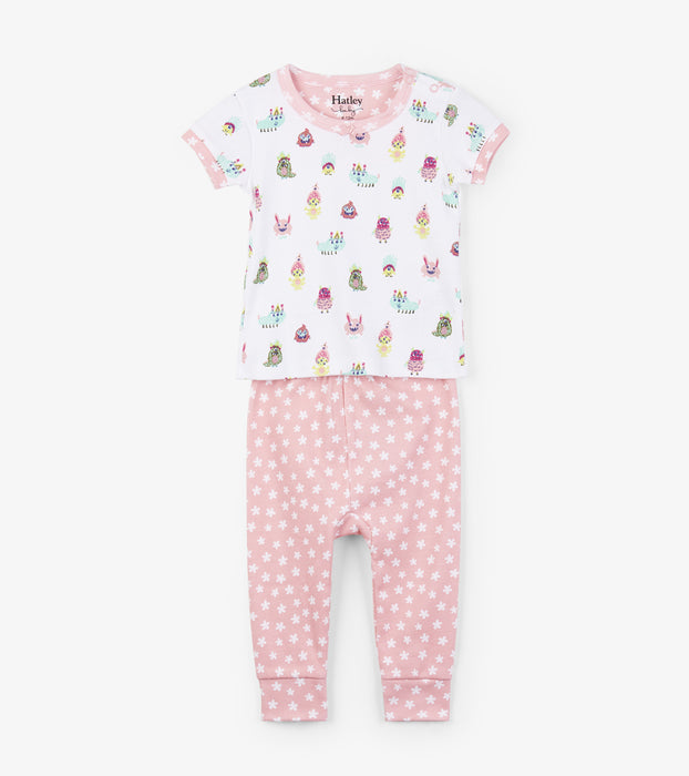 Hatley funny creatures organic cotton baby short sleeve pjs - SmoochSuits