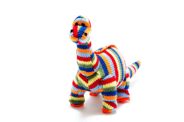 Best Years Knitted Striped Diplodocus Rattle