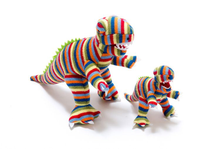 Best Years Large Knitted T Rex Striped Dinosaur Toy