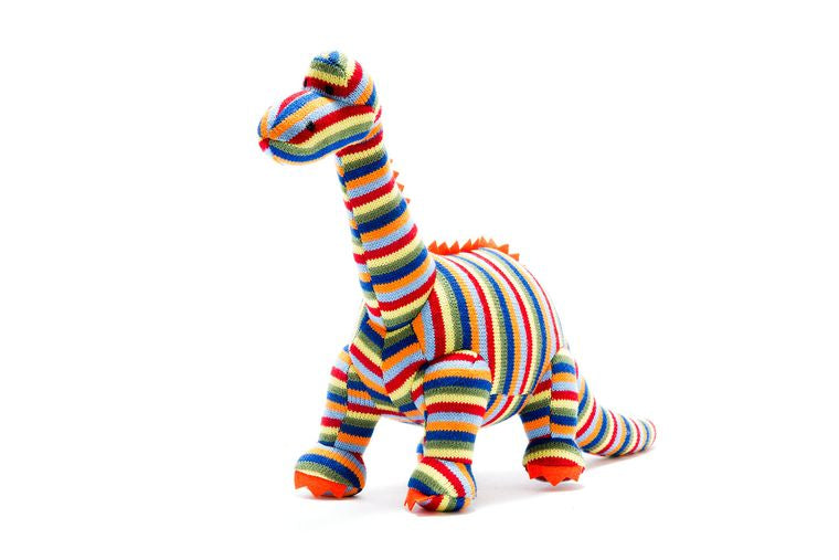 Best Years Large Knitted Striped Diplodocus Toy