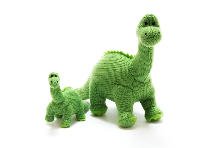 Best Years Large Knitted Green Diplodocus Toy