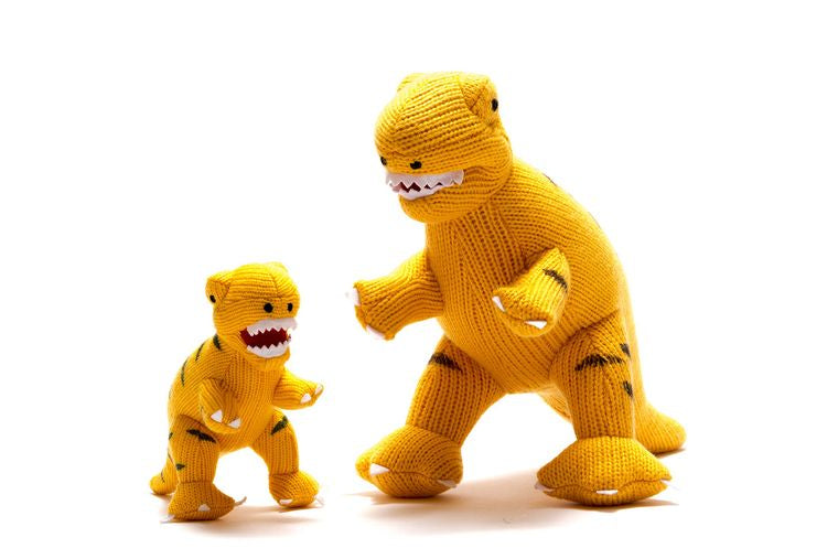Best Years Large Knitted T Rex Yellow Dinosaur Toy