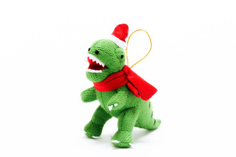 Best Years Knitted T-Rex Christmas Decoration