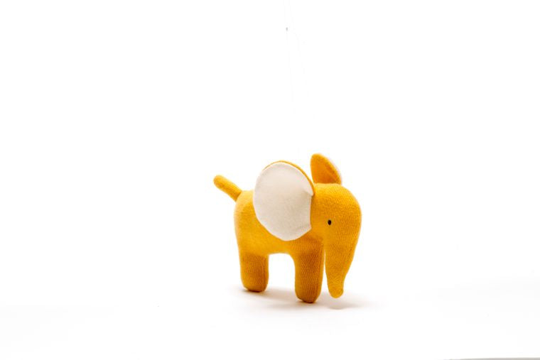 Best Years Small Organic Cotton Knitted Elephant Toy Mustard