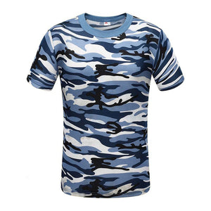 Mens Blue Camo Short Sleeve Shirt