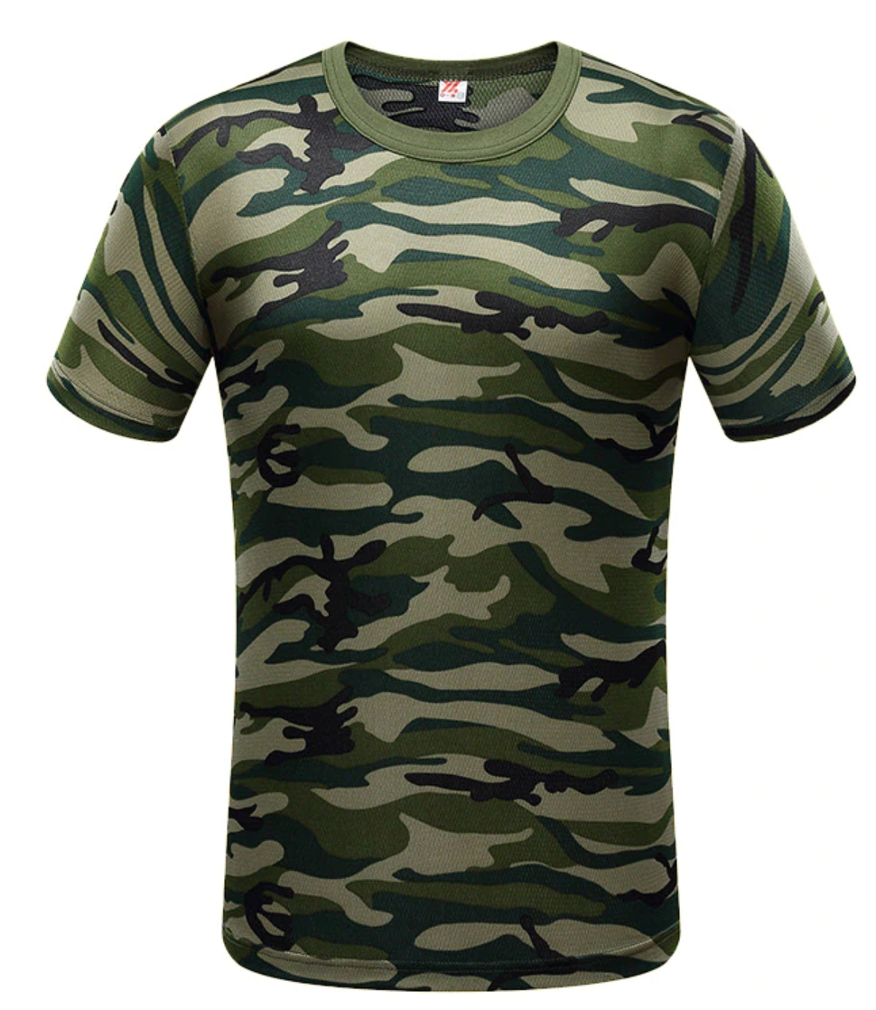 Mens Green Camo Short Sleeve Shirt