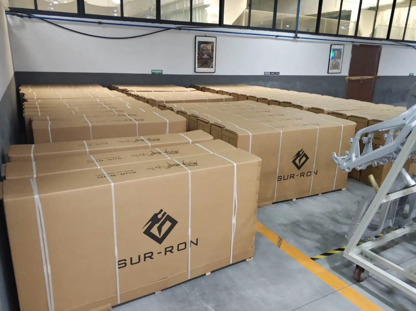 Surron Electric Bikes in Boxes