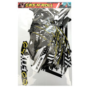 Full Gas 'N' Roll Black, White & Yellow Decal Kit (Chassis + Battery + Handlebar + Rims)