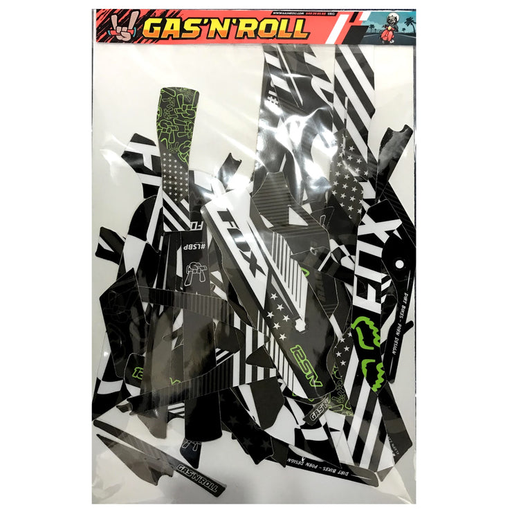 Gas 'N' Roll Decal Green, Black & White Kit (Chassis + Battery + Handlebar)