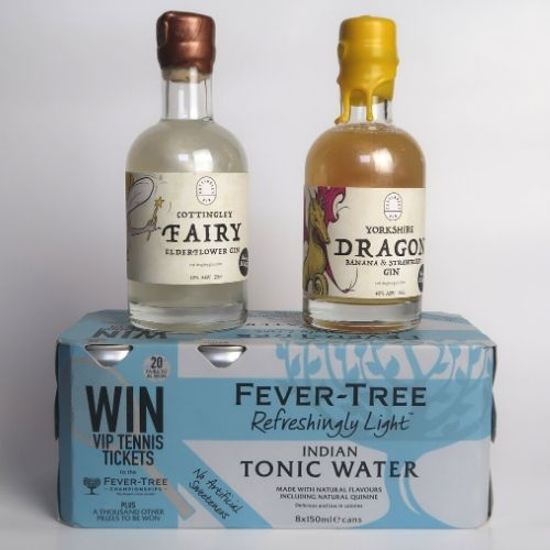 Gin Gift Set 2 x 20cl Smooth Gins + 8 Cans Tonic, FREE DELIVERY - Yorkshire Fairytale Gin, Unique Flavoured Gins with Sparkles