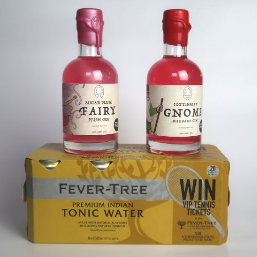Gin Gift Set 2 x 20cl Fruity Gins + 8 Cans Tonic, FREE DELIVERY - Yorkshire Fairytale Gin, Unique Flavoured Gins with Sparkles