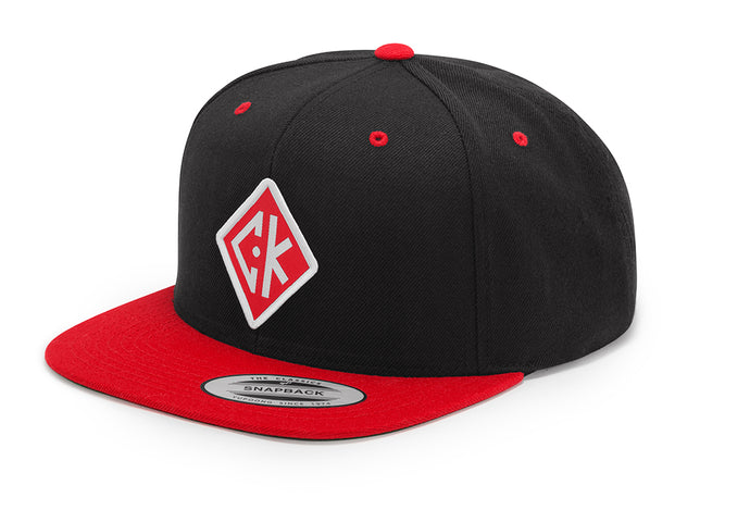 Diamond Patch Snapback - Red/Black